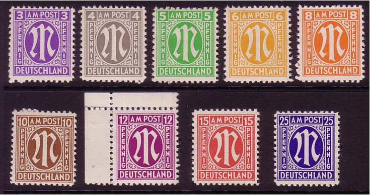 Germany 1945 Stamp Set of Definitives. SGA1-SGA9.