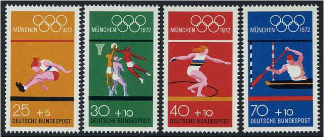 Germany 1972 Olympic Games Stamp 7th Series. SG1629-SG1632.