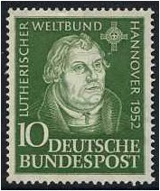 Germany 1952 10pf. Green. SG1075.