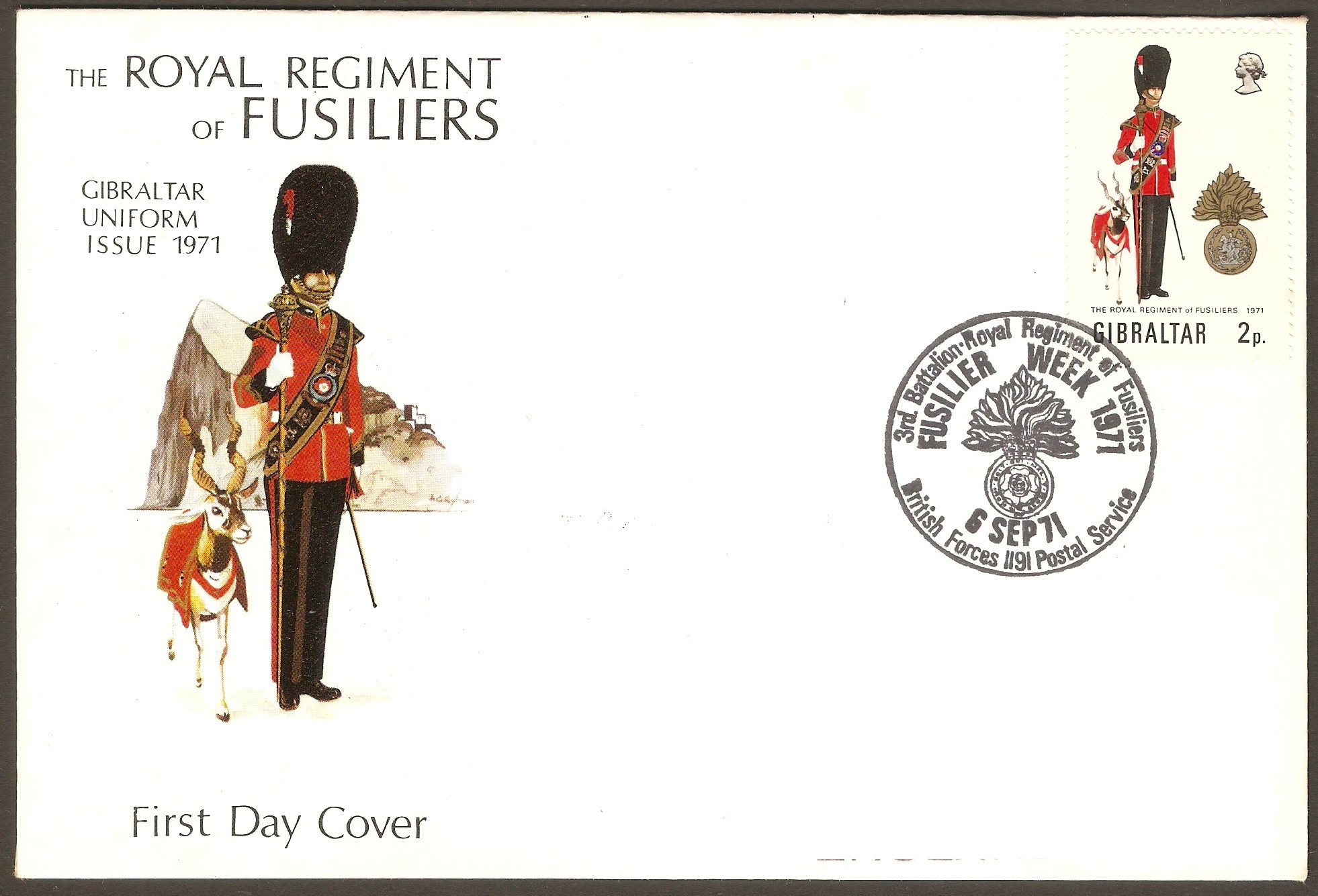 Gibraltar 1971 2p Military Uniforms Series FDC.