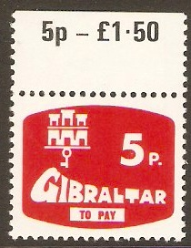 Gibraltar 1976 5p Red Postage Due. SGD9.