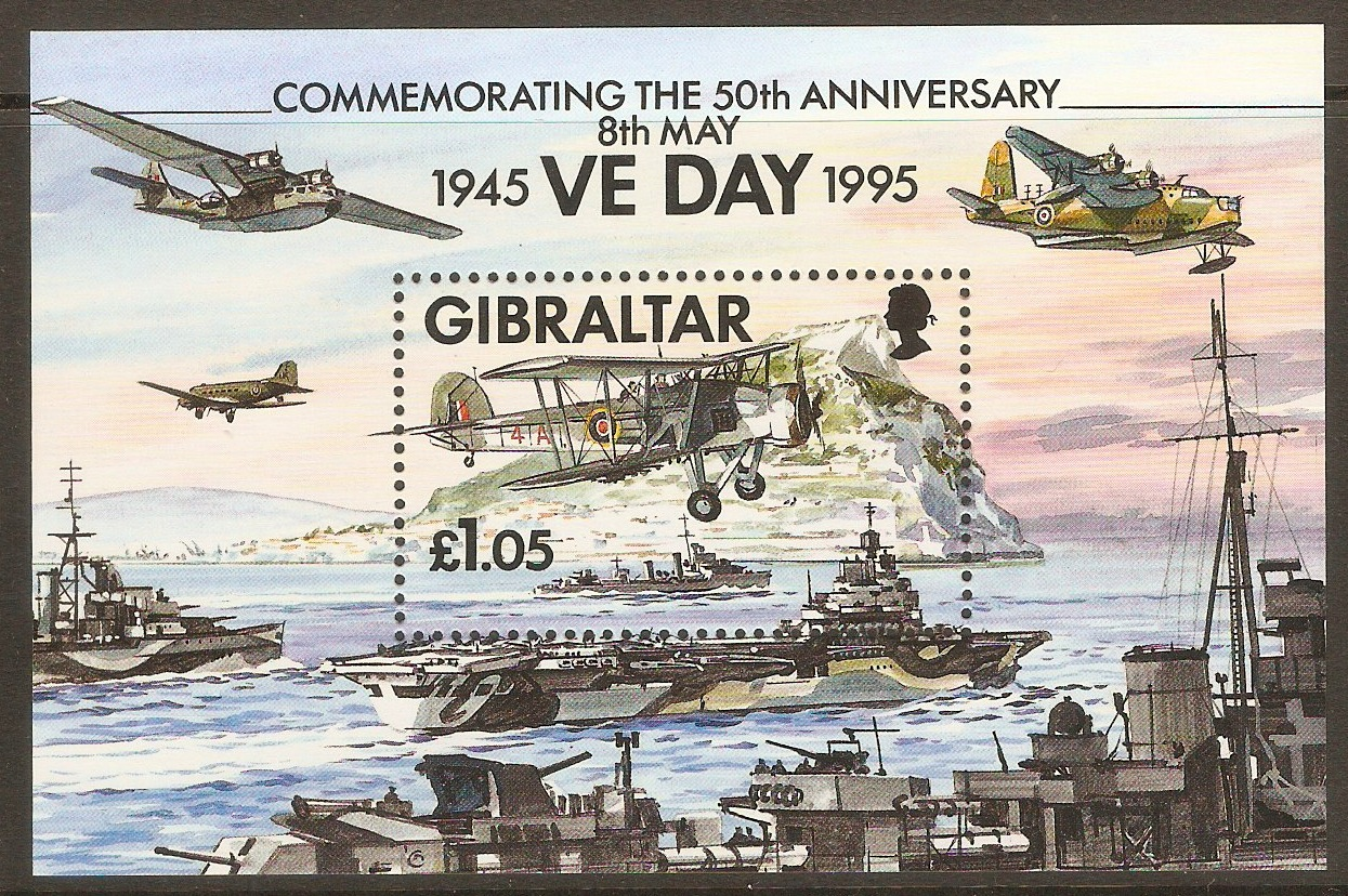 Gibraltar 1995 £1.05 WWII Anniversary sheet. SGMS744.