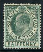 Gibraltar 1906 ½d. Blue-Green. SG66.