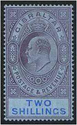 Gibraltar 1906 2s. Purple and Bright Blue on Blue Paper. SG72.
