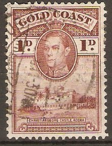Gold Coast 1938 1d Red-brown. SG121a.