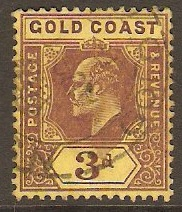 Gold Coast 1907 3d Purple on yellow. SG63.