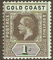 Gold Coast 1913 1s Black on blue-green, olive back. SG79c.