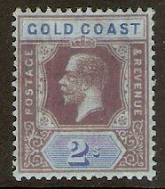 Gold Coast 1913 2s Purple and blue on blue. SG80b.