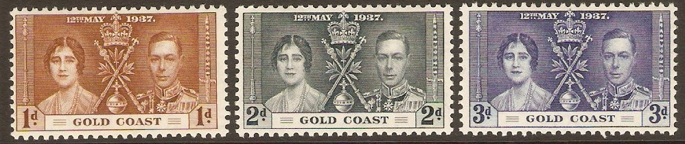 Gold Coast 1937 Coronation Set. SG117-SG119.