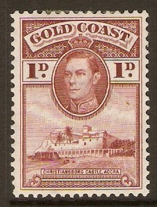 Gold Coast 1938 1d Red-brown. SG121.