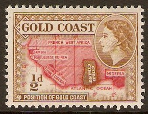 Gold Coast 1952 ½d Bistre-brown and scarlet. SG153a.