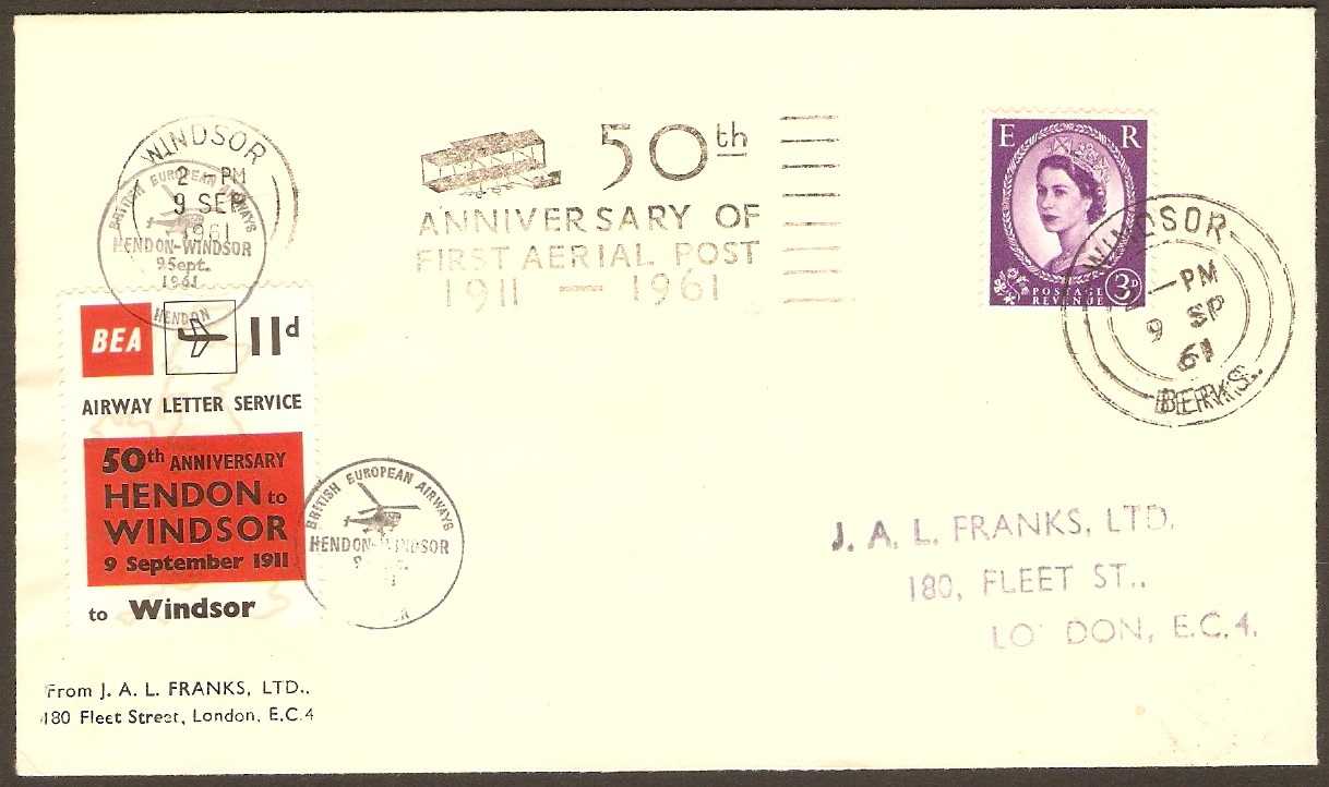 Great Britain 1961 Aerial Post 50th. Anniversary Cover.