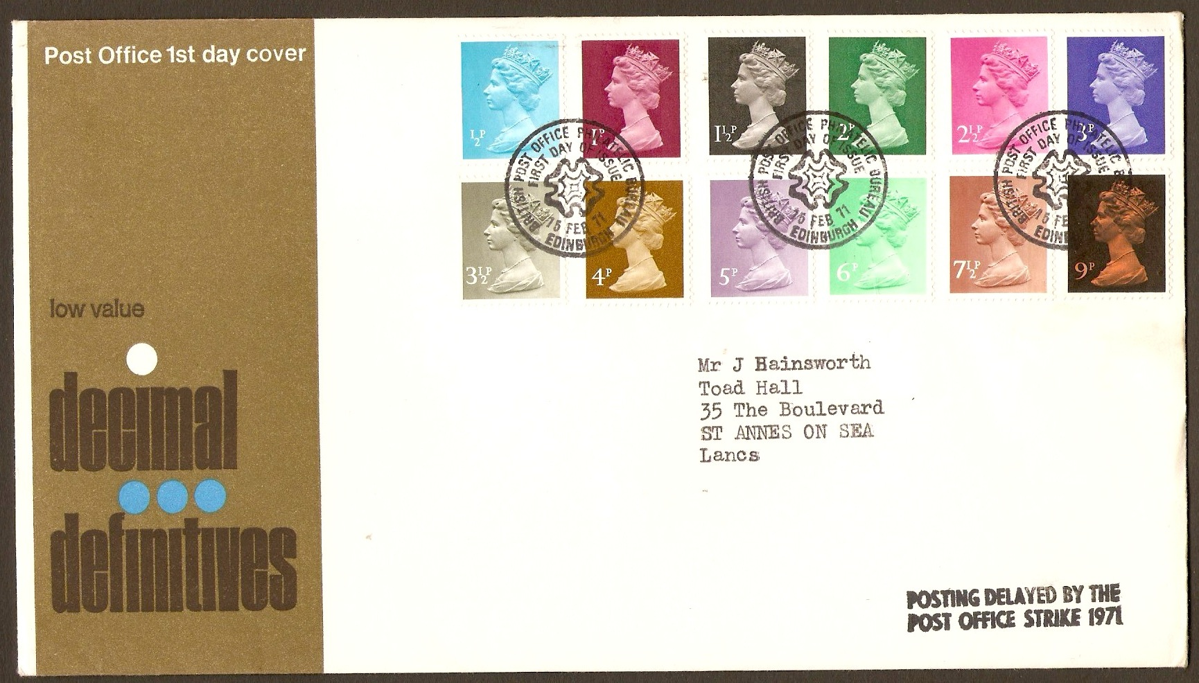 Great Britain 1971 Decimal Definitives FDC.