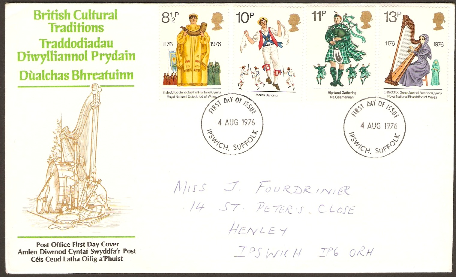 Great Britain 1976 Cultural Traditions FDC. SG1010-SG1013.