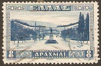 Greece 1934 8d Blue Athens Stadium. SG479.