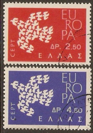 Greece 1961 Europa Stamps Set. SG877-SG878.