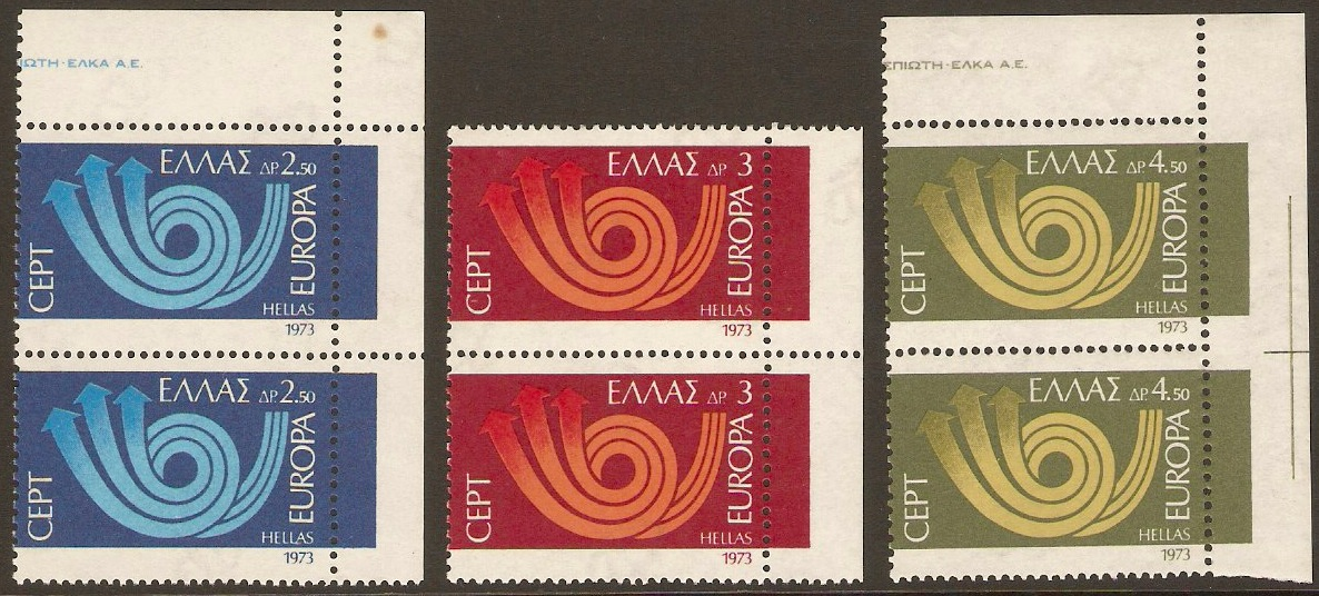 Greece 1973 Europa Stamps. SG1249-SG1251.