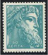 Greece 1955 50l. Turquoise-Green. SG736a.
