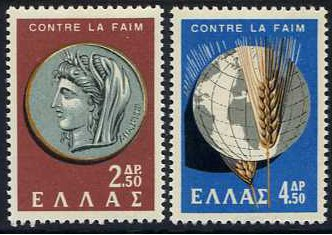 Greece 1963 Freedom from Hunger Set. SG902-SG903.
