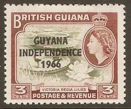 Guyana 1966 3c Brown-olive and red-brown. SG379.