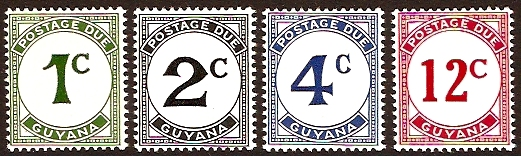 Guyana 1987 Postage Due Stamps. SGD8-SGD11.