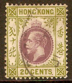 Hong Kong 1912 20c Purple and sage-green. SG107.