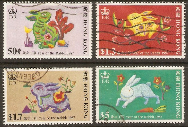 Hong Kong 1987 Year of the Rabbit set. SG529-SG532.