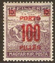 Hungary 1921 100f on 15f Plum - Postage Due Stamp. SGD428.
