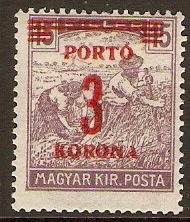 Hungary 1922 3k on 15f Plum - Postage Due Stamp. SGD434.