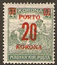 Hungary 1922 20k on 2½k Deep green - Postage Due Stamp. SGD440.