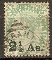 India 1891 2½a on 4½a Yellow-green. SG102.
