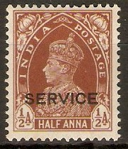 India 1937 ½a Red-brown - Official stamp. SGO135.