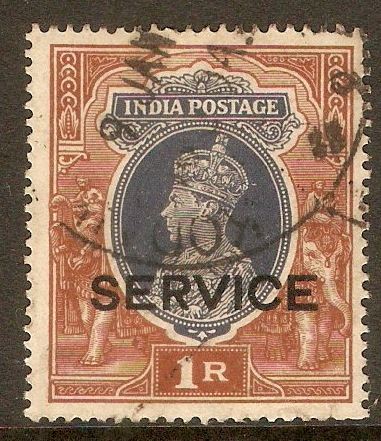 India 1937 1r Grey and red-brown - Official stamp. SGO138.