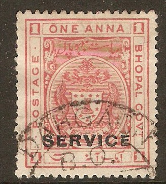 Bhopal 1932 1a Carmine-red - Service stamp. SGO315.
