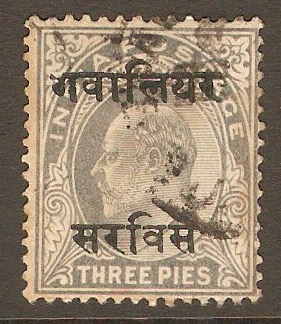 Gwalior 1903 3p Pale grey - Official stamp. SGO29.