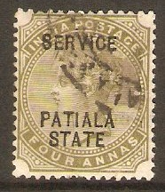 Patiala 1891 4a Olive-green - Official stamp. SGO13.