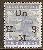 India 1883 2a Pale blue - Official Stamp. SGO42.