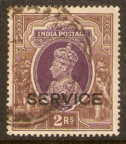 India 1937 2r Purple and brown - Official stamp. SGO139.