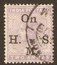 India 1900 2a Pale violet - Official stamp. SGO51.