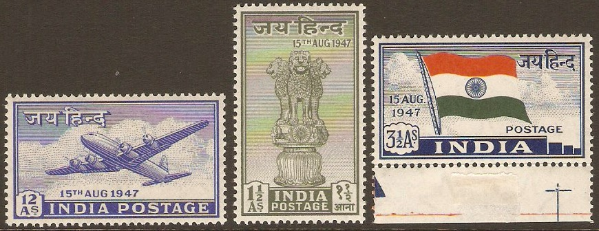 India 1947 Independence Set. SG301-SG303.