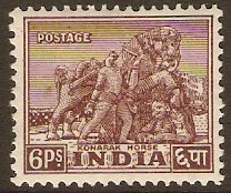 India 1949 6p Purple-brown. SG310.