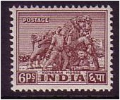 India 1949 6p. Purple-Brown. SG310.