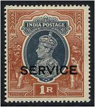 India 1937 1r Grey and red-brown. SGO138.