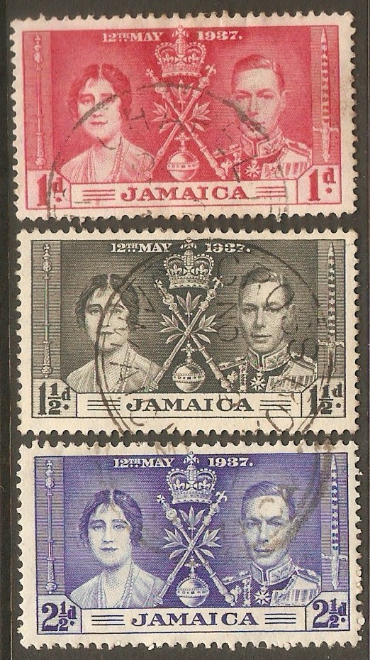Jamaica 1937 Coronation Set. SG118-SG120.