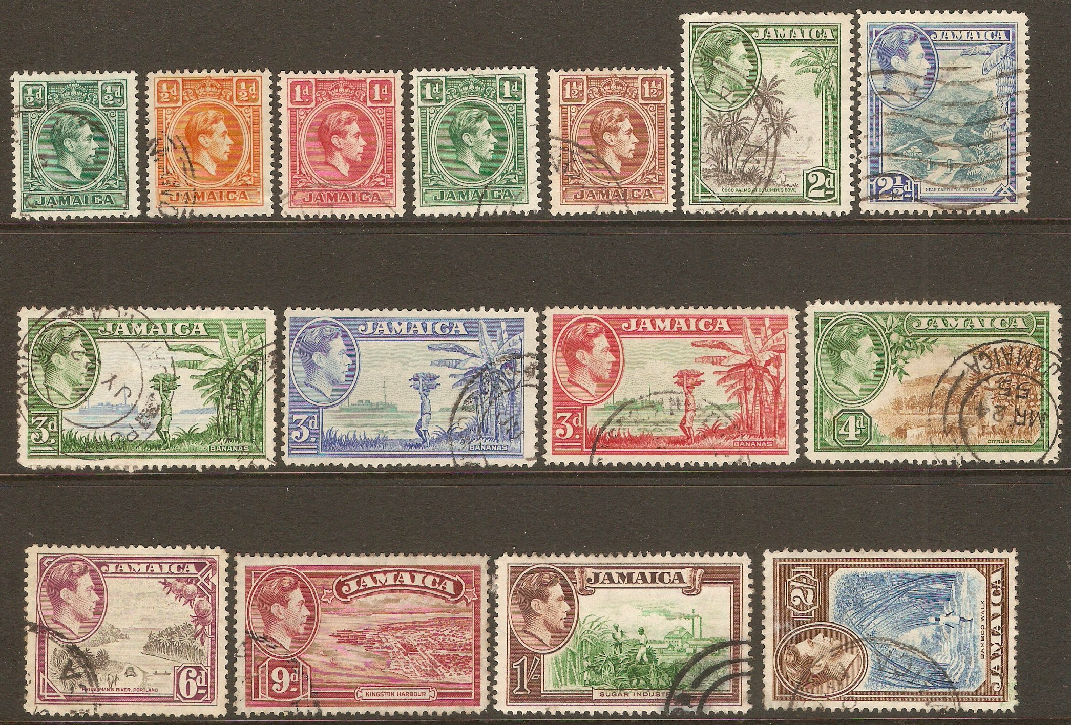 Jamaica 1938 King George VI definitives. SG121-SG131.