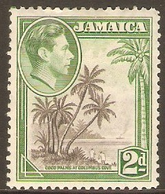 Jamaica 1938 2d Grey and green. SG124.