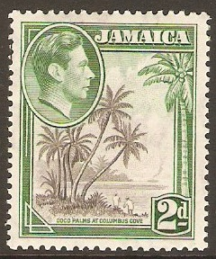 Jamaica 1938 2d Grey and green. SG124c.
