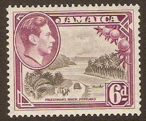 Jamaica 1938 6d Grey and purple. SG128a.