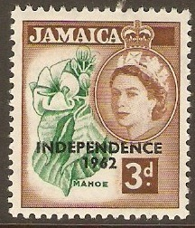 Jamaica 1962 3d Emerald and red-brown. SG184.