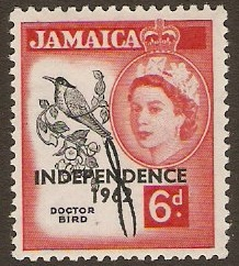 Jamaica 1962 6d Black and deep rose-red. SG186.